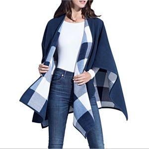 Jackets & Blazers - Reversible Woolen Wrap Woolrich Poncho Navy Plaid
